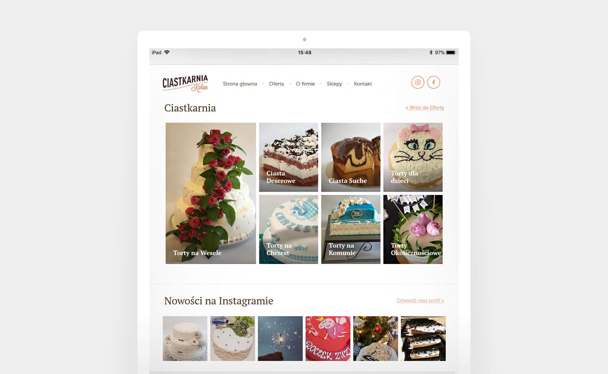 Ciastkarnia Kolan website (iPad)
