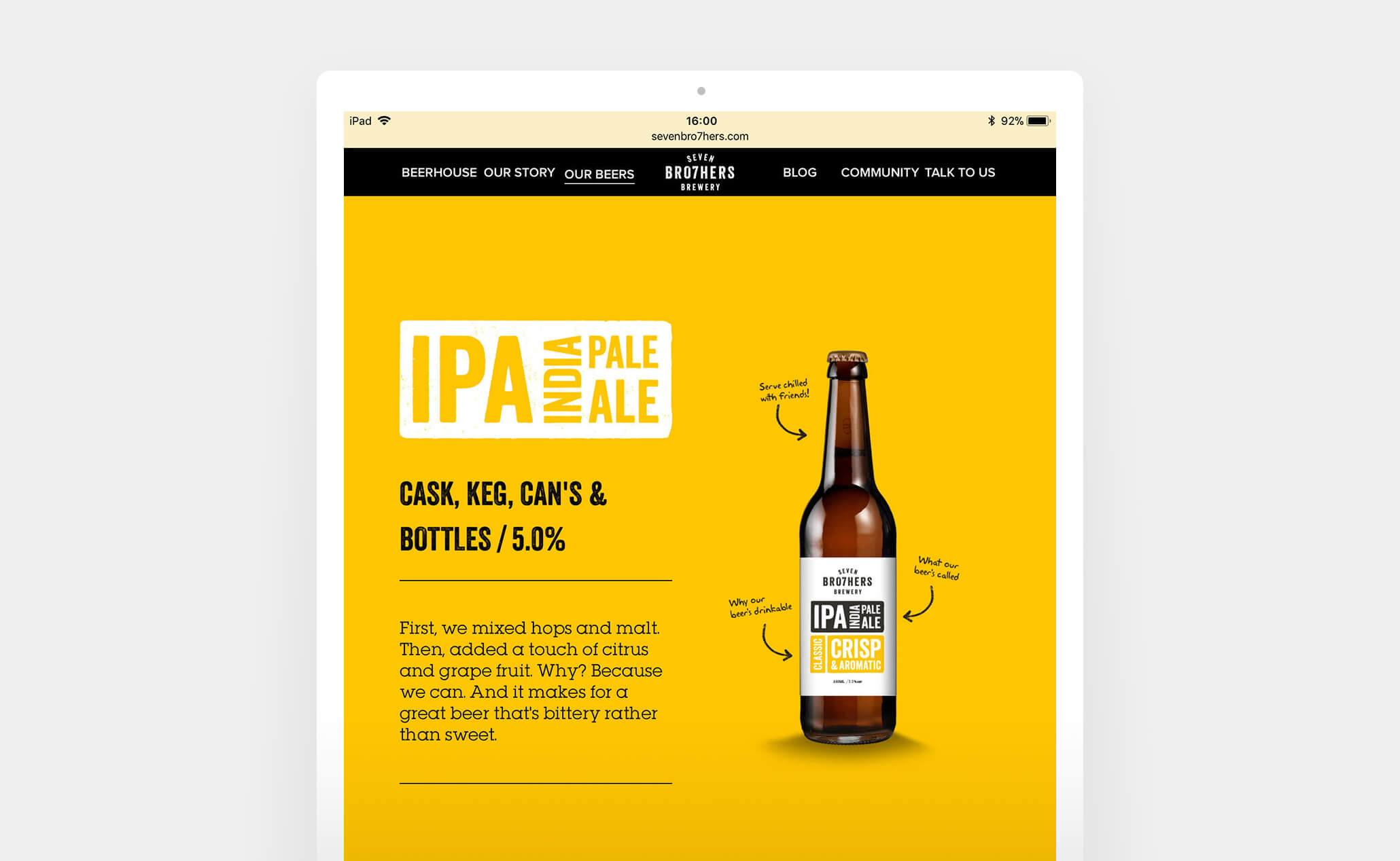 Seven Brothers Brewery website (iPad)